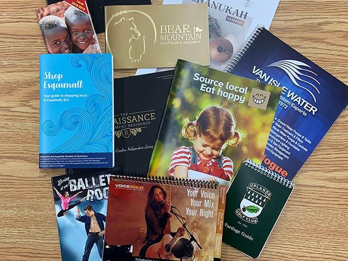 Booklets - samples on display
