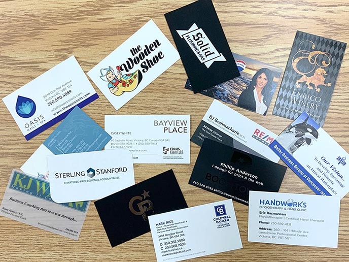 Business cards - samples displayed