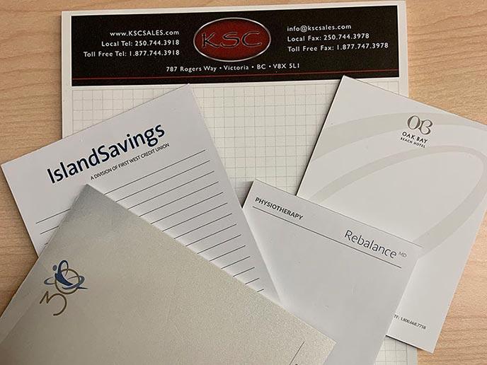 Notepads - samples displayed